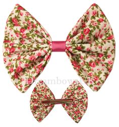 Large floral fabric hair bow, large bow on hair clip, girls large hair accessory bows, party hair accessories, Dave bows for girls, slides