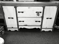 """This is a vintage buffet, custom painted and distressed, $130, 35"""" tall x 60"""", from dealer VTM upstairs at The Rusty Chandelier.  We are packed full of fantastic furniture, vintage finds, home decor and gifts, many one of a kind created or recreated by our talented vendors. An eclectic mix of old and new treasures. Come explore for yourself! Open everyday 9-6!  I-29 and Highway 71, St. Joseph, MO"""