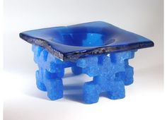 Lucartha Kohler  Toltec Bowl    Size: 11.25h x 11.25w x 6.5d    Technique: Cast glass  Signed, 2002