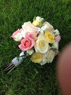 Bridal bouquet pink and yellow roses