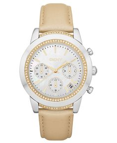 DKNY Watch, Women's Chronograph Champagne Leather Strap 38mm NY8584 - Women's Watches - Jewelry & Watches - Macy's