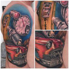 Half sleeve in progress - tatoos - Motorrad Bike Tattoos, Motorcycle Tattoos, Body Art Tattoos, Tatoos, Hot Rod Tattoo, Biomechanical Tattoo, Sweet Tattoos, Cool Tats, Ideas