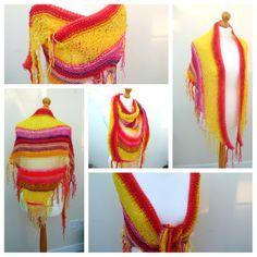 SALE Shaggy Shawl - Pink Yellow Orange Red £15.00