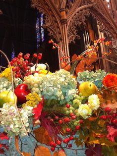 Washington National Cathedral decorated for Thanksgiving
