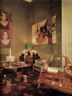 "Pierre & Sao Schlumberger's Parisian hôtel particulier, Hôtel de Luzy, in 1977. Warhol's portraits of Sao and Picasso's ""Les enfants"" on the walls. The paintings were sold at auction by Sotheby's NYC in october 2014."