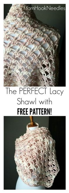 Are you looking for a crochet shawl pattern that is feminine and dainty? Then you will love this perfect, lacy crochet shawl pattern for FREE!