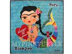 Frida Kahlo Mermaid with Heart to Diego SPECIAL ! Buy 2 PRINTS and get another one FREE !    This is a 8 x 8 high quality reproduction of one of