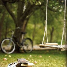 Ingredients for a perfect summer day: shady tree, swing, books, and bicycle. Summer Time, Summer Fun, Summer Days, Spring Time, Summer Dream, Summer Picnic, Summer Story, Summer Books, Summer Loving