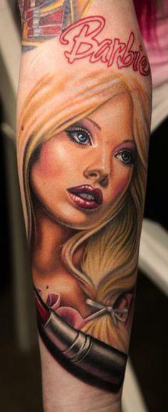 Kelly Eden — My Barbie Tattoo by Nikko Hurtado See Tattoo, Tatto Ink, Tatoo Art, Realism Tattoo, Tattoo You, Tattoo Pics, Tattoo Images, Girly Tattoos, Love Tattoos