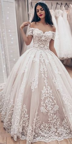Ball Gown Off The Shoulder Wedding Dress With Lace Appliques, Gorgeous Bridal Dr. Ball Gown Off The Shoulder Wedding Dress With Lace Appliques, Gorgeous Bridal Dress Princess Wedding Dresses, Bridal Wedding Dresses, Dream Wedding Dresses, Wedding Ball Gowns, Wedding Lace, Weeding Dresses, Short Girl Wedding Dress, Off Shoulder Wedding Dress Lace, Backless Wedding
