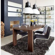 Shop modern dining tables in all shapes and sizes to find the perfect fit for your home. Our collection has dining furniture for any space. Mango Wood Dining Table, Modern Dining Table, Dining Room Table, Dining Chairs, Wood Table, Foyer Decorating, Decorating Ideas, Loft, Ideas