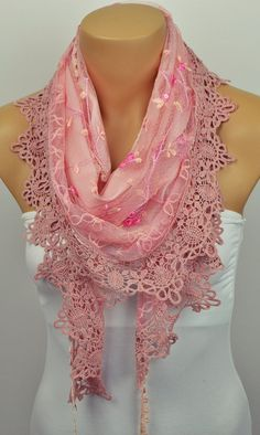 Hey, I found this really awesome Etsy listing at https://www.etsy.com/listing/220254695/pink-lace-scarf-floral-scarf-shawl-scarf