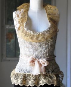 Linen and Lace Halter Top  Wheat and Gold by EfiaFair on Etsy, $145.00