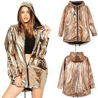 Buy Women's Fashion Gold Shiny Jacket Metallic Hooded Loose Coat Hoodie Clubwear (S-XXL) at Wish - Shopping Made Fun