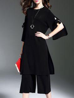 Black Two Piece 3/4 Sleeve Slit Plain Jumpsuits