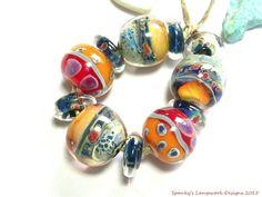 Spanky's Beads~ Rainforest Firelight Rounds  ~Handmade Lampwork Glass Beads #Spankys #Lampwork
