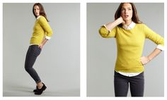 Boden cashmere crewneck sweater + skinny jeans + brogues