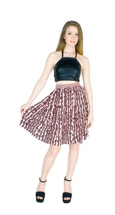 Pink Skirt Knee Length Cotton Print High Waist by fashionmeme
