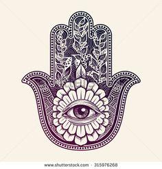 Hamsa, hand of Fatima, vector illustration - stock vector