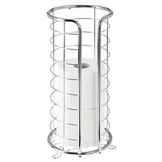 mDesign Decorative Metal Free Standing Toilet Paper Holder Stand with Storage for 3 Rolls of Toilet Tissue - for Bathroom/Powder Room - Holds Mega Rolls - Chrome | WantItAll Free Standing Toilet Paper Holder, Toilet Paper Holder Stand, Paper Roll Holders, Toilet Paper Storage, Paper Towel Holder, Best Toilet Paper, Tissue Paper Roll, Nautical Bathroom Decor, Vanity Countertop