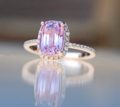 2.7ct Cushion raspberry peach champagne sapphire 14k rose gold diamond ring engagement ring