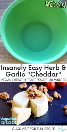 "👇 Click ""Visit"" below for the full recipe 👇 Making vegan cheese has never been so easy. This garlic and herbs cheese is delicious, dairy-free and has no added oil. Vegan Fast Food, Healthy Vegan Snacks, Vegan Comfort Food, Fast Healthy Meals, Dairy Free Cheese, Vegan Cheese, Whole Food Recipes, Vegan Recipes, Cheddar"