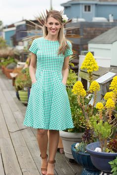 Piper Fit & Flare Green Dress | Sausalito Collections