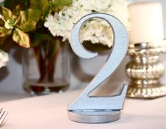 metallic silver wedding reception table numbers