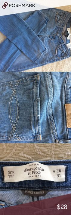 Abercrombie Jeans size 24 Abercrombie Jeans size 24 waist 31 length. Great for tall girls. Skinny with stretch. Abercrombie & Fitch Jeans Skinny