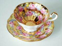 Vintage Regency Gold Gilt and Pink Rose Teacup and Saucer. 46.00, via Etsy by Queen Anne