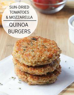 Sundried Tomato and Mozzarella Quinoa Burgers {to be veganized! sub mozzarella}