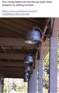 Bucket Light, Barn Lighting, Outdoor Living, Ideas Para, Farmhouse, Front Porch, Winchester, Space, Home