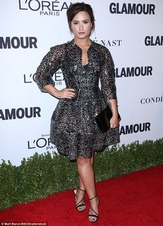 Flawless:Demi Lovato cut a glamorous figure as she arrived on the red carpet for the Glam...