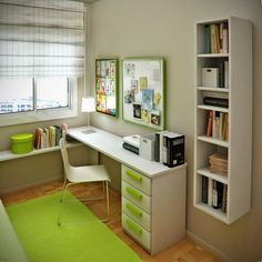 Home Design and Interior Design Gallery of Bedrooms Space Saving Green Kids Small Bedroom And Study Room Design Ideas With Floating White Bookcase By Sergi Mengot Modern Bedroom Ideas For Small Rooms Study Table Designs, Study Room Design, Small Room Design, Kids Room Design, Library Design, Apartment Bedroom Decor, Bedroom Desk, Bedroom Shelving, Bedroom Setup