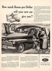 1941 Ford Room per Dollar 6 and 8 Cylindar Original Car and Truck Print Ad