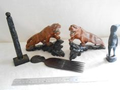 African asian tribal art treen small collection of carved items 1900 -1940