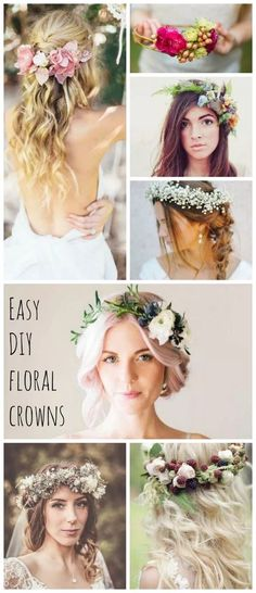 DIY floral crown - perfect for brides and bridesmaids, or as a bridal shower activity. Read more at Flower Crown Tutorial, Diy Flower Crown, Diy Crown, Flower Crown Hairstyle, Bridal Shower Rustic, Bridal Shower Gifts, Bridal Showers, Diy Cabelo, Photo Trop Belle