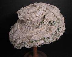 FABULOUS Antique 19th c. French Doll Hat w/ Flowers & Lace French Bebe Dolls