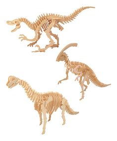3-D Wood Dinosaur Puzzle Set by Puzzled #zulily #zulilyfinds