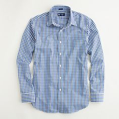 Factory slim point-collar dress shirt in bold gingham