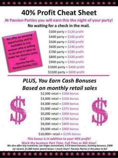 This is the pay scale for Passion Parties. I on average get paid no less than $200! I only work 3 hours each night. How many can say that? I've been with Passion Parties for 5 years now and I love it!! get started today!! visit my webpage: www.jumpstartyourpassion.com or you can email me for more information at jumpstartyourpassion@gmail.com