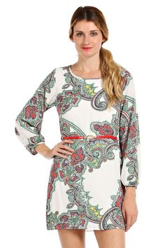 BOHO PRINT CHIFFON SHIFT DRESS