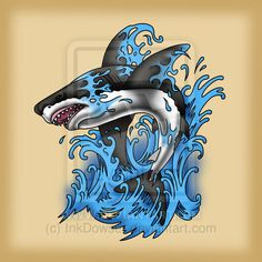 Jumping Shark by InkDowser.deviantart.com on @DeviantArt