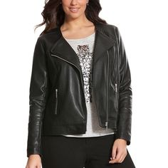Lane Bryant Perforated leather jacket Edge up any look with a rock-ready moto jacket made of perforated faux leather. Shining with exposed zipper detailing and a collarless cut with a draped front, this lightweight jacket offers a sassy finish to everything from femme dresses to distressed denim. Fully lined. Lane Bryant Jackets & Coats