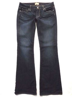 Paige size 30 x 34 Canyon flare boot cut Low rise Dark blue wash Womens jeans #PaigeDenim #BootCutFlare