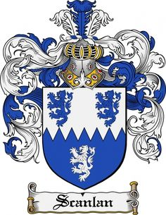 Scanlan Coat of Arms Scanlan Family Crest Instant Download - for sale, $7.99 at Scubbly Family Shield, Family Crest, Anglo Saxon, Crests, Coat Of Arms, Dolphins, Rooster, Flag, Symbols