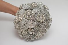 brooch bouquet bridal bouquet wedding bouquet by FlowerDecoration, $110.00    Beautiful upcycled bouquet!