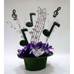 DIY Unique Upper Scale Music Centerpieces for theme party table decorations, bar and bat mitzvahs. Music Centerpieces, Unique Centerpieces, Party Centerpieces, Centerpiece Ideas, Graduation Centerpiece, Broadway Party, Music Themed Parties, Diy Party Music, Party Table Decorations