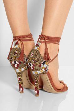 PORTER A Etro NET Sandalias suede Boho sandals Beaded COM Swqqv7X
