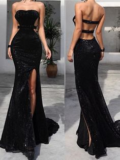 Prom Dresses Simple, Strapless Long Mermaid Black Sequin Side Slit Prom Dresses , A long dress makes an elegant statement at any formal event whether it is prom, a formal dance, or wedding. Elegant Dresses, Pretty Dresses, Sexy Dresses, Beautiful Dresses, Fashion Dresses, Fall Formal Dresses, Strapless Prom Dresses, Fashion Hair, 80s Fashion